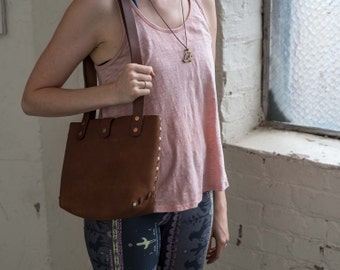 Leather Handbag Small Size Riveted Design / Tote / Purse / leather hobo bag / Gift for Her / leather bag / shoulder bag / everyday bag