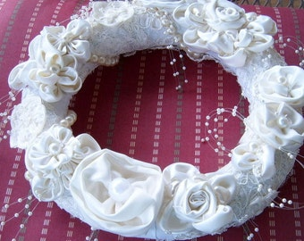 40% Off, Satin Wreath, Candle Ring, Wedding, Satin Roses, White and Cream, Handmade Fabric Roses, Shabby Chic, Romantic, Handmade