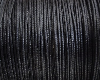 10 Yards - 1mm Black Waxed Cotton Cord