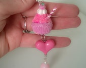 Strawberry Cherry Cupcake with Heart and Pearl Accent Polymer Clay Dessert Food Charm Keychain Gift Minature Ooak Pink