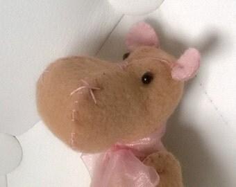 Brown and Pink Hippo Plush Softie Stuffed Animal Plushie Baby Nursery Gift Ooak Soft Hippopotamus