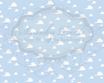 20ft x 10ft Vinyl Photography Backdrop / Toy Story Clouds