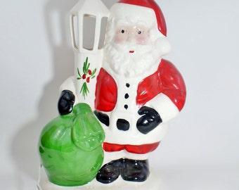 Vintage Ceramic Santa Lamp Christmas Light Night Post Claus Rare Figurine