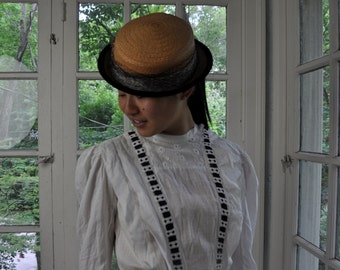 Adorable Straw Mini Hat/Vintage 1930s 1940s/Narrow Brim Summer Hat/Velvet, Striped Ribbon, Net and Feather Trim