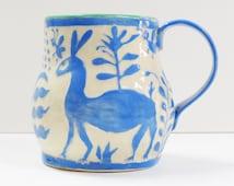 OTOMI Sgraffito MUG - Otomi Influenced Art Pottery, Mexican Folk Art, Carved Mug,Coffee Tea Cup Mug,Useful Art Pottery Whimsy