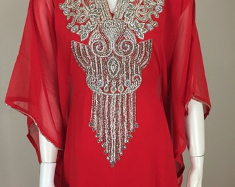 Red and Silver Embellished Caftan