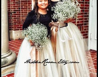 Flower Girls' Tulle Skirt, Floor Length Skirt , Tulle Tutu, Flower Girl Tutu ,Sizes 6-16