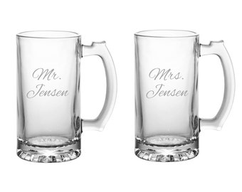Pair of Personalized Mr. & Mrs. Beer Mugs: Etched Bride Groom Beer Mugs, Custom Mr. Mrs. Beer Mugs, Custom Bride Groom Gift, Wedding Mugs