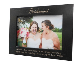 Personalized Bridesmaid Picture Frame: Personalized Bridesmaid Gifts, Custom Bridesmaids Gifts, Engraved Black Bridesmaid Picture Frame