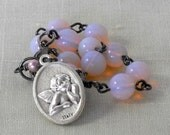 Pink Opalescent Guardian Angel Rosary Bracelet Cherub Rosary One Decade Rosary Rearview Mirror Car Rosary Czech Austrian Beads (POCHE-22115)