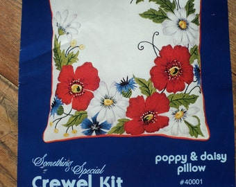 Vintage Crewel Kit with printed Linen and yarn, A Red Poppy and White Daisy Design which can be A Pillow in Mint Condition ready to finish