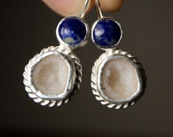 Blue Lapis Lazuli and White Druzy Geode Earrings in Sterling Silver...ooak