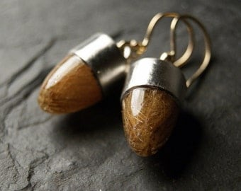 Mixed Metals Golden Rutilated Quartz Earrings in Recycled 14kt Yellow Gold and Sterling Silver
