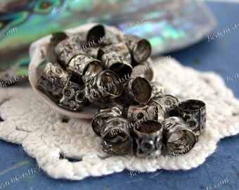 Antique Silver Plated Brass Tube Beads, Antique Silver Beads, Brass Beads, Metal Beads, Large Hole Beads, Macrame Beads MB-030