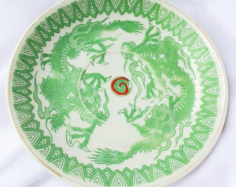 Vintage Japanese Green and White Dragon Transferware Saucer Plate