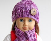 Purple Hand Knitted Winter Accessories for American Girl Doll, Handmade Doll Clothes, Hat Scarf Leg Warmers for 18 Inch Doll