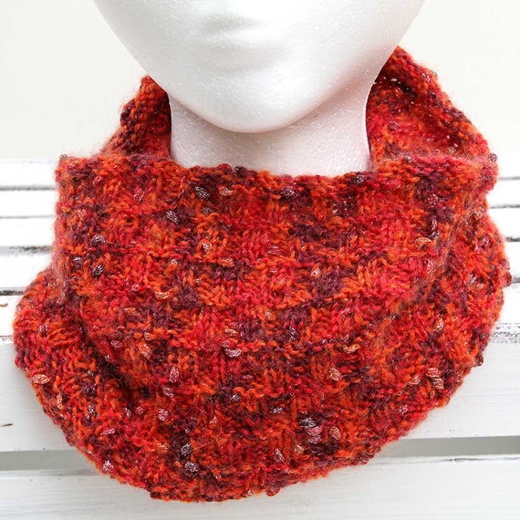 Red Sparkling Cowl, Hand Knit Infinity Scarf, Women's Winter Accessory, Soft Scarf, Handmade Snood, Loop Scarf