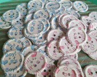 100 It's A Girl/It's A Boy Embossed Paper Buttons