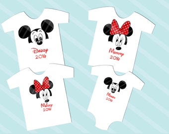 Disney Inspired Family Shirt Images Mickey or Minnie Face Digital Download for iron-ons, heat transfer, T-Shirt, Totes, Bags,  YOU PRINT