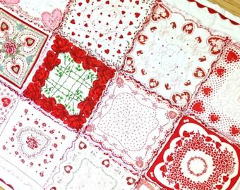 Vintage Valentine Hankies Rag Quilt with Super Jumbo Ric Rac Trim by Grannies Hankies