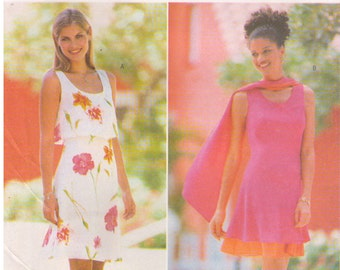 1998 - Butterick 5509 Sewing Pattern Sizes 6/8/10 DW3 David Warren Easy Dress Petite Lined Semi Fitted Flared Over Bodice Fitted A Line Bias