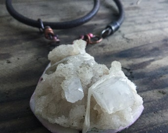 Apophyllite cluster pendant | Raw crystal cluster and copper pendant, raw stone, rough stone, Quartz crystal, white crystal