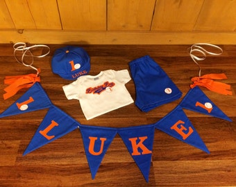 Baby Boy Blue and Orange Baseball Birthday Banner & Smash Cake Outfit. Custom Shirt, Shorts and Hat