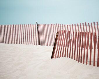 Beach Photography, Sand Fence Photo, Modern Coastal Picture, Minimalist Beach Decor, California Photograph, Los Angeles Artwork
