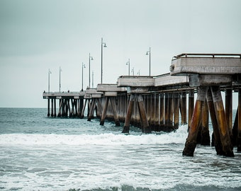 Venice Pier Photograph, Modern Coastal Art Print, Fishing Pier Picture, Blue Green Grey Decor, Modern Ocean Photography, California Artwork