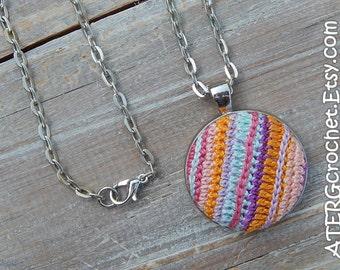 Multicolored crochet pendant by ATERGcrochet
