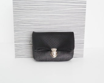 Coin purse/ Tiny pouch/ Black leather and grey cotton fabric