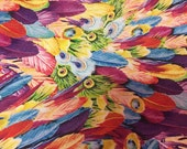 Peacock Feathers Rayon/Spandex Knit - Yellow/Blue