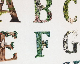 A1 Large Scale Forest Alphabet Giclee Print, Art Print, Wall Art onto archive grade paper