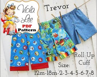 Trevor... Boy's Pants Pattern, Toddler Pants Pattern PDF, Lounge Pants, Beach Shorts Pattern, Shorts Pattern. Toddler Boys Sewing Pattern.