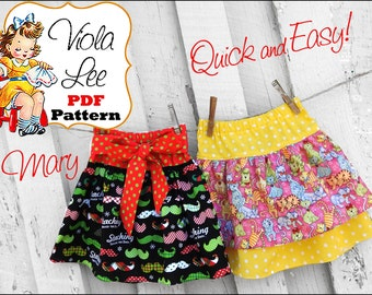 Mary Girls Sewing Patterns, Baby Skirt Pattern. Girl's Skirt Pattern pdf. Toddler Ruffle Skirt Pattern. Skirt Sewing Pattern. Infant Skirt.