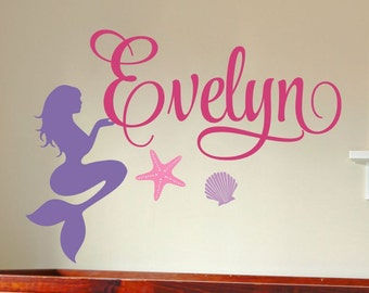 Personalized Childrens Wall Decal Wall Sticker Mermaid Girl Name Decal Girls Name Girls Bedroom Baby Girl Nursery Name Decal Nursery Decal