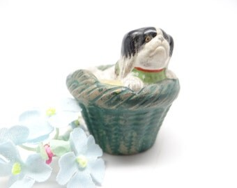 1940's Pug Puppy Dog in Basket Figurine, Vintage Hand Painted