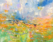 Abstract Landscape 'Happy Days' - acrylic painting on canvas - size 40cm x 40cm