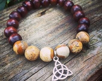 Yogi inspired wood bead meditation mala bracelet with natural picture jasper and celtic charm