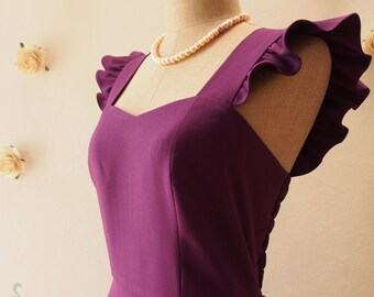 Olivia - Purple Bridesmaid Dress Purple Party Dress Eggplant Bridal Shower Reception Dress Ruffle Sleeve Dress Summer dress -XS-XL, Custom