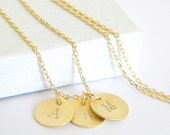 Sale Gold Initial Necklace - Choose Up to 4 Disc Pendants