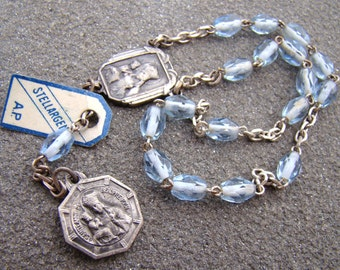French Ca 1950 Blue Crystal Vintage Chaplet