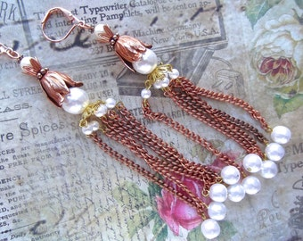 Vintage Pearl, Faux Pearl Copper, Long Faux Pearl, Long Pearl Chain, Copper Tulip Cap, Swarovski Pearl, Copper Chain, Pearl Copper Dangle