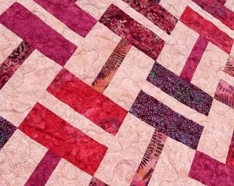 SALE King / Queen Batik Patchwork Quilt, Bella Berry, Handmade by PingWynny