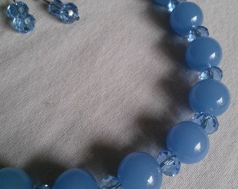 Blue Chalcedony and Crystal Necklace Set - Center in present, communication, prevent energy leaks, singer's stone