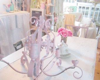 Vintage metal pale pink candelabra shabby chic prairie cottage chic