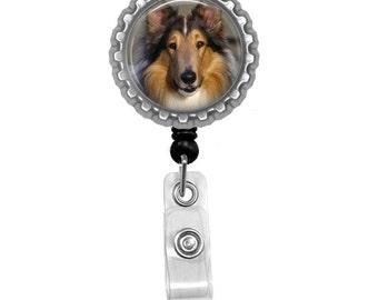 Collie Dog Id Badge Reel Lanyard Name Tag Holder