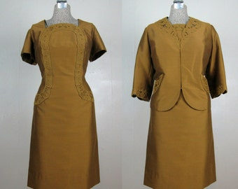 Vintage 1960s Dress and Jacket Set 60s Green/Gold Silk Blend Suit with Great Details Size L