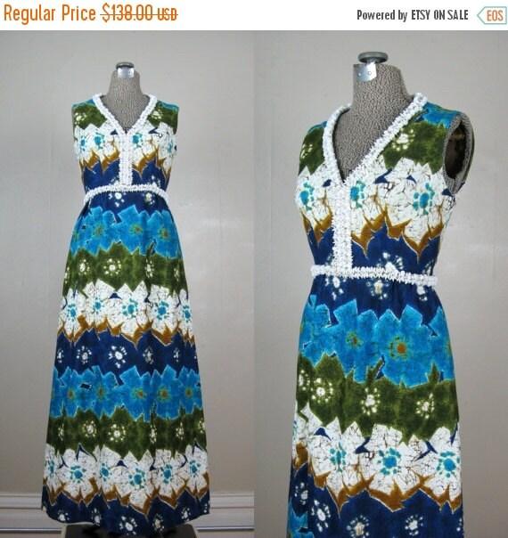 SHOP SALE // Vintage 1960s HAWAIIAN Dress 60s Luau Cotton Maxi Dress with Opulent Beaded Neckline Size S