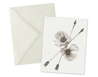 Wild Rose and Arrows Card 1pc Blank A2 Note Card